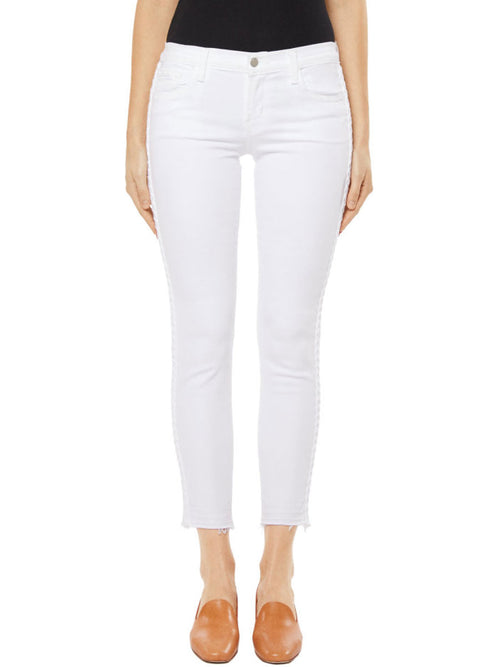 9326 Low-Rise Cropped Skinny Jean in Braided Blanc
