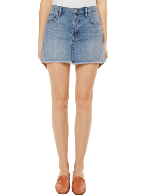 Bonny Mid-Rise Denim Mini Skirt in Hydra