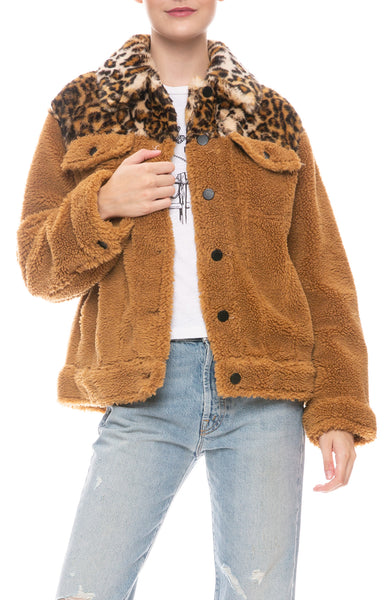 Camel Teddy Jacket with Leopard