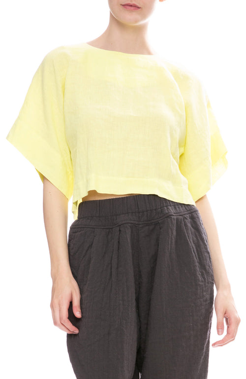 Black Crane Petal Top in Lemon Yellow
