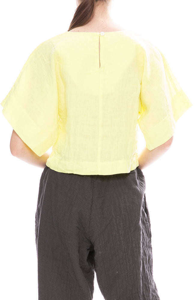 Black Crane Lemon Yellow Linen Petal Top