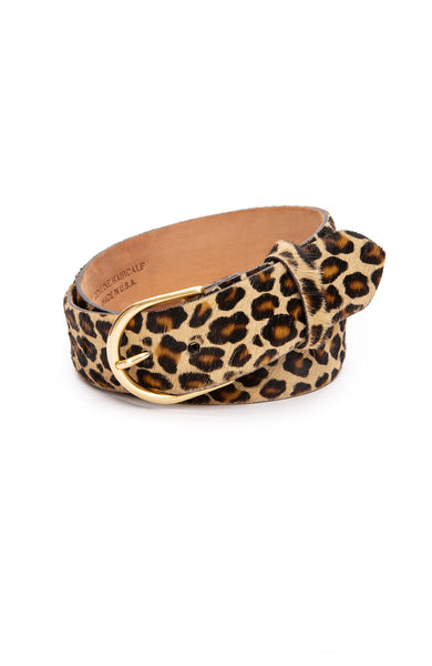 W. Kleinberg Leopard Print Calf Hair Belt with Gold Buckle at Ron Herman