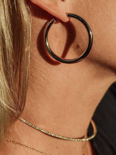 Solid Gold 4cm Tube Hoops