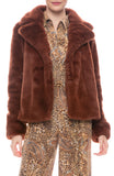 Wide Collar Faux Fur Jacket
