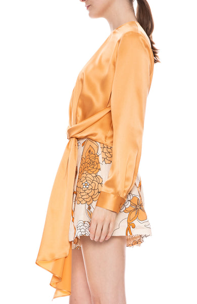 Long Sleeve Top with Drape Tie