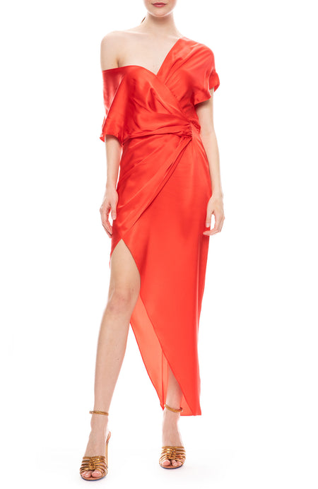 Wide Neck Silk Wrap Dress