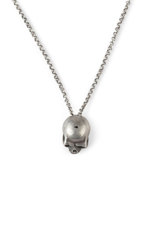 Sterling Silver Half Skull Necklace
