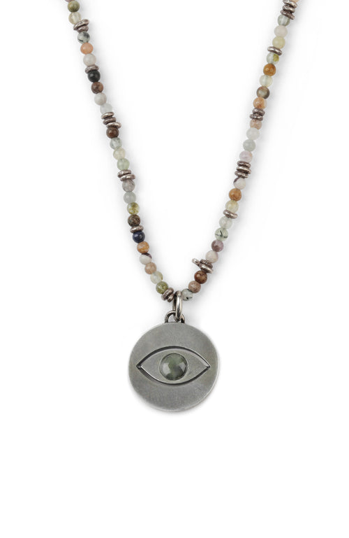 M. Cohen Spinning Evil Eye Mixed Stone Necklace