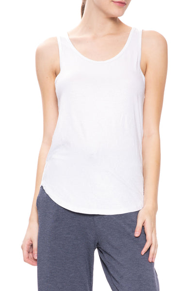 Majestic Filatures Soft Touch Metallic Scoop Tank in Metal Silver at Ron Herman