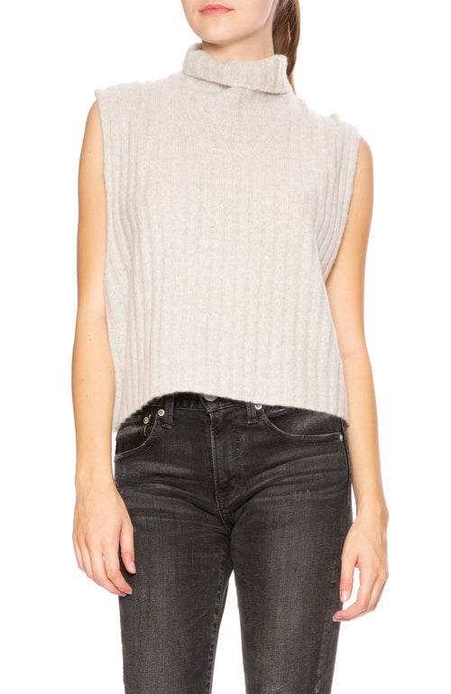Soyer Bella Cashmere Sleeveless Turtleneck Sweater in Mist at Ron Herman