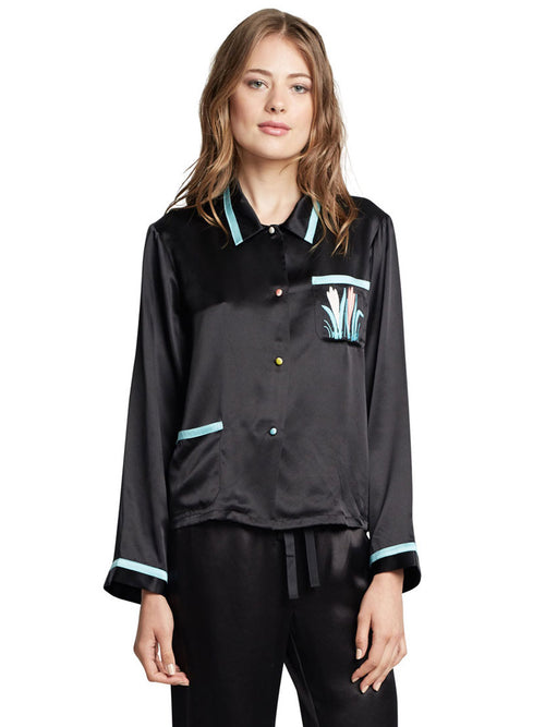 Phoenix Secret Garden Silk PJ Shirt