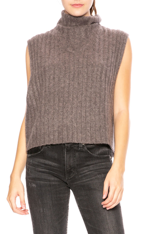 Soyer Bella Cashmere Sleeveless Turtleneck Sweater in Musk at Ron Herman