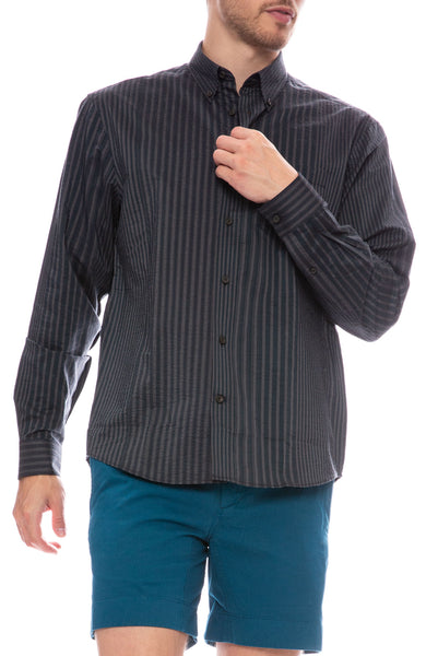 Acne Studios Sarkis Stripe Shirt in Navy / Grey
