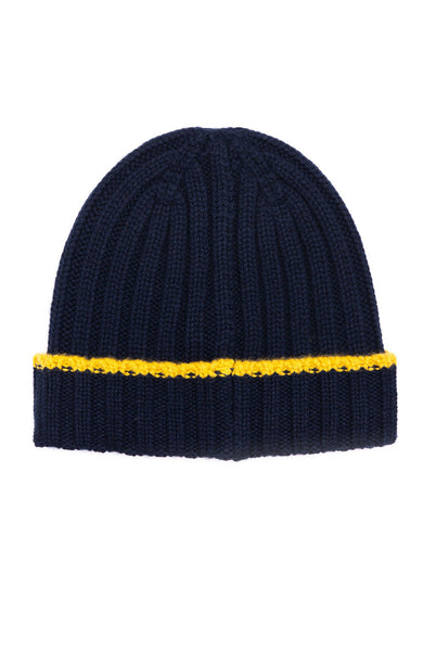 Alex Mill Navy Cashmere Rib Beanie with Yellow Tipping Beanie at Ron Herman