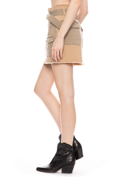 Paperbag Two-Tone Cargo Mini Skirt