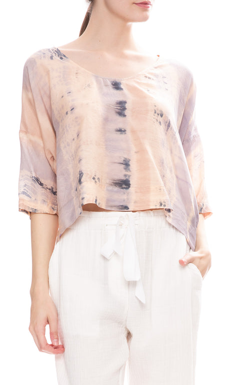 Raquel Allegra Silk Peach Clouds Tie-Dye Pop Over Blouse
