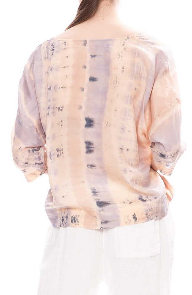 Raquel Allegra Silk Pop Over Blouse in Peach Clouds Tie-Dye