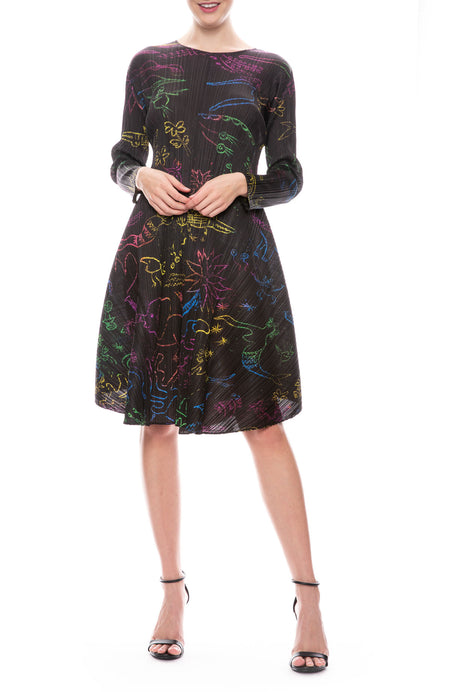 Pleated Doodle Dress