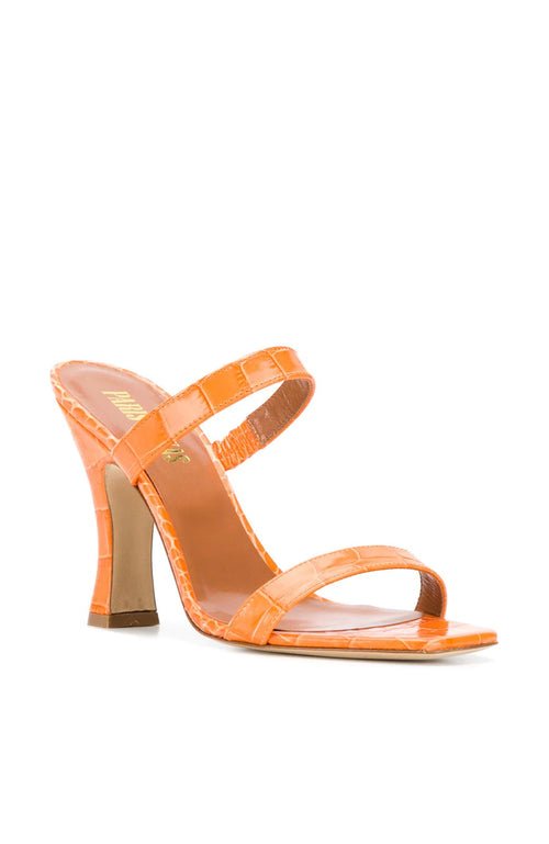 PARIS TEXAS 2 Strap Croc Mules Orange