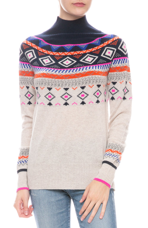 Fair Isle Mock Cashmere Sweater