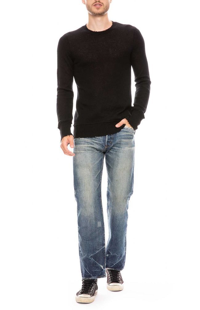 Cashmere Sweater with Distressed Edges