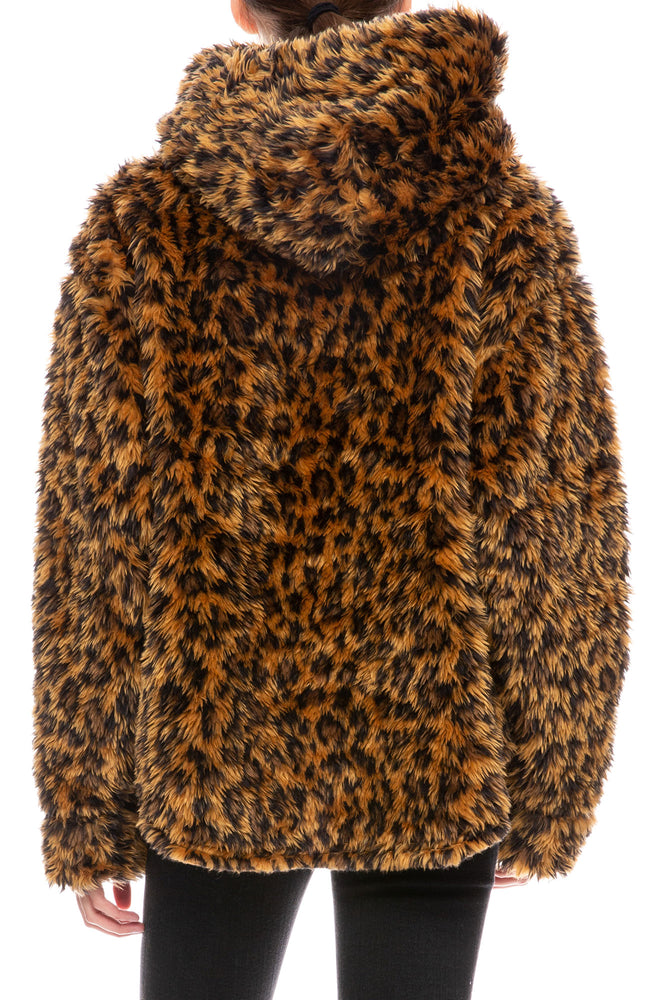 Fuzzy Leopard Pullover Hoodie