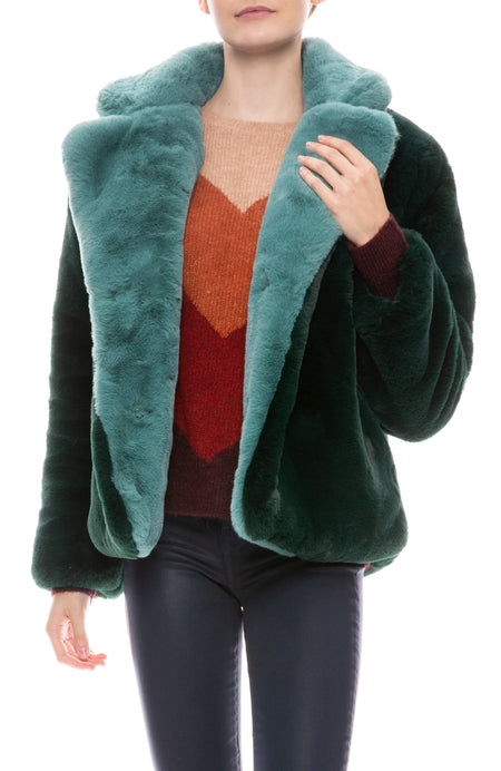Kendall Faux Fur Two-Tone Coat