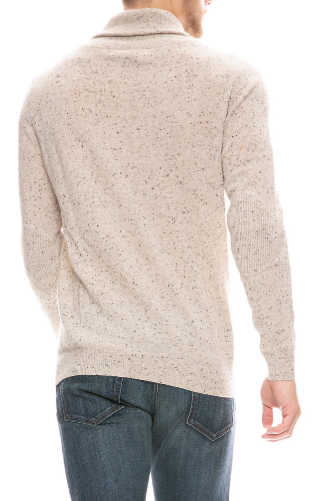 Exclusive Shawl Collar Elbow Patch Cashmere Sweater
