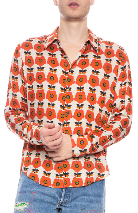 Retro Flower Viscose Shirt
