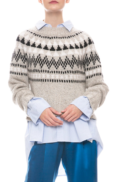 Cropped Fair Isle Cashmere Sweater