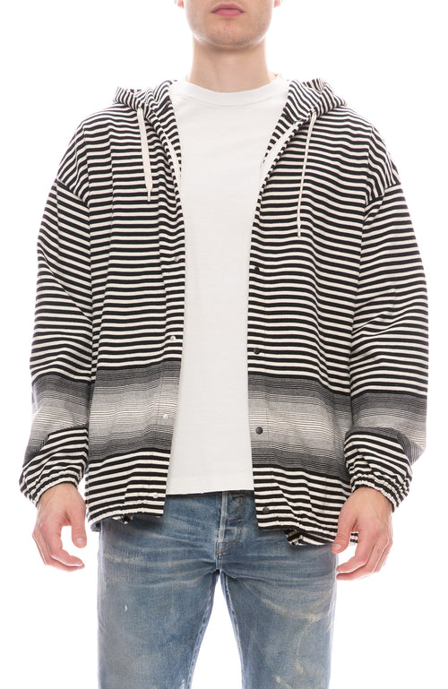 Striped Hooded Cardigan