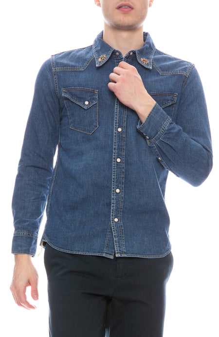 Western Denim Stud Collar Shirt