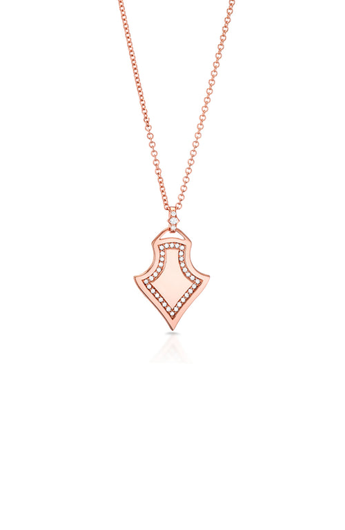 Carbon & Hyde Rose Gold Sparta Shield Diamond Necklace