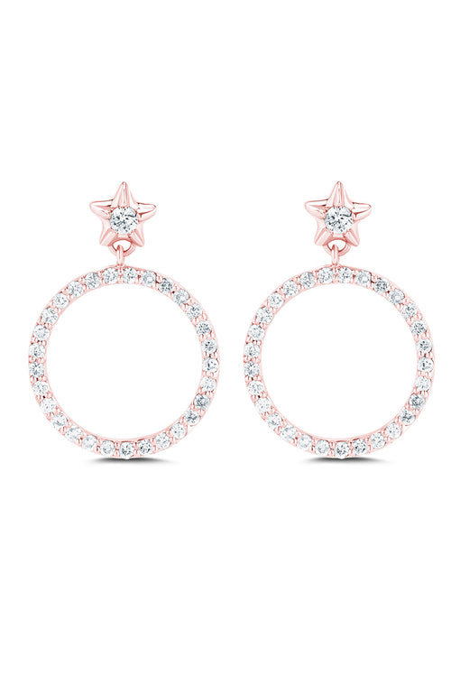 Carbon & Hyde Full Moon Diamond Earrings in Rose Gold