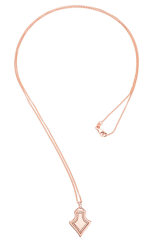 Carbon & Hyde Sparta Shield Necklace in Rose Gold