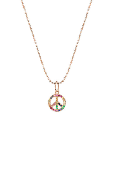 Sydney Evan 14K Rose Gold Mini Micro Pave Rainbow Peace Sign Necklace at Ron Herman