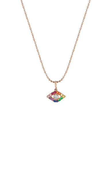 Sydney Evan 14K Rose Gold Large Bezel Rainbow Evil Eye Necklace at Ron Herman
