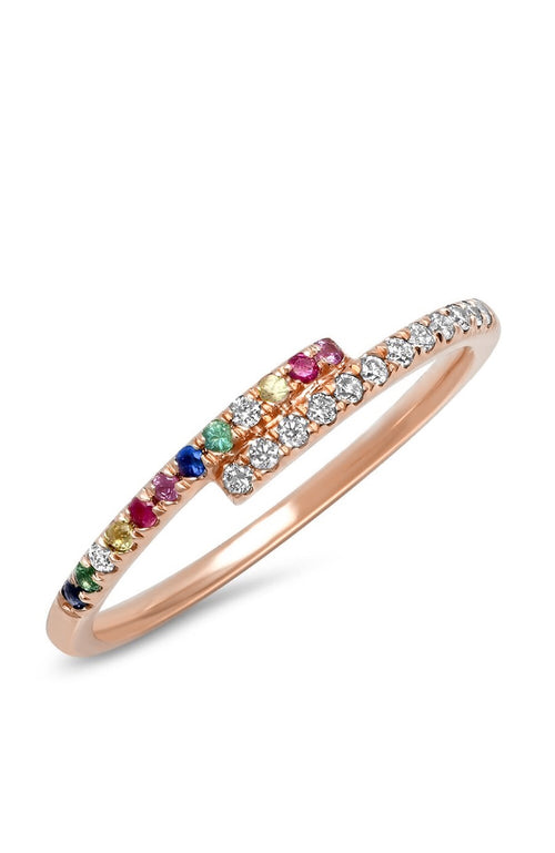 Shain Leyton 14K Rose Gold Rainbow Sapphire and Diamond Two Tone Wrap Ring