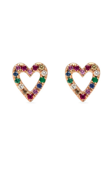 Shain Leyton 14K Rose Gold Rainbow Sapphire Heart Earrings