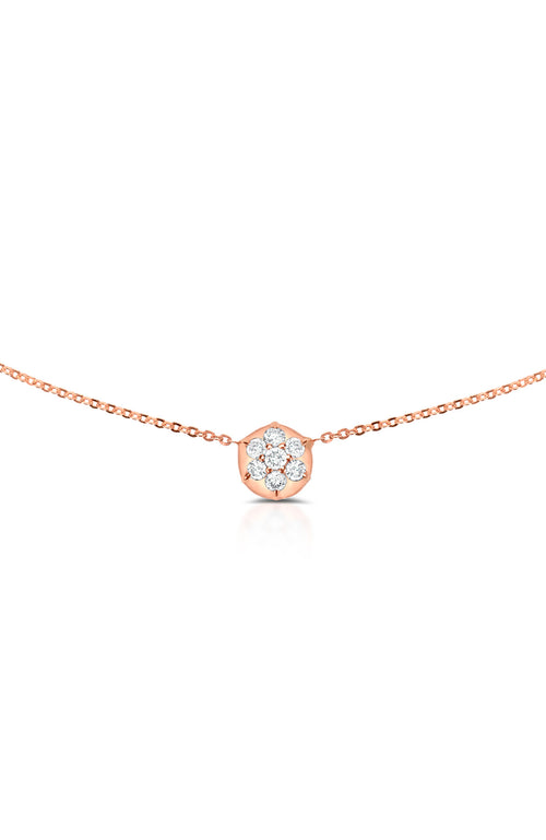 Carbon & Hyde 14K Rose Gold Bullet Choker Necklace with Diamond Circle Shape Charm at Ron Herman