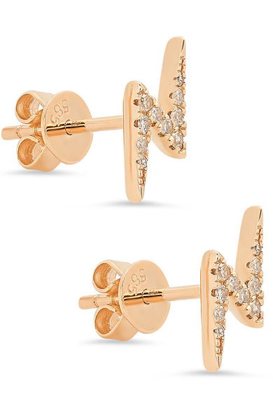 Shain Leyton 14K Rose Gold Lightning Bolt Studs at Ron Herman