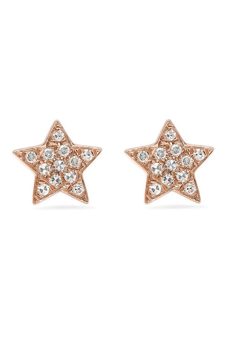 Gold Diamond Star Studs