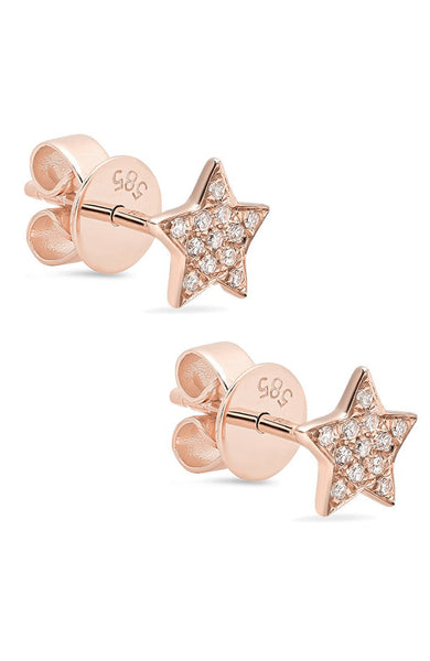 Shain Leyton 14K Rose Gold Diamond Star Stud Earrings