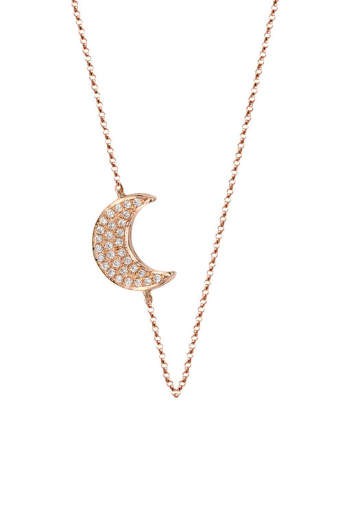 Double Sided Diamond Moon Necklace