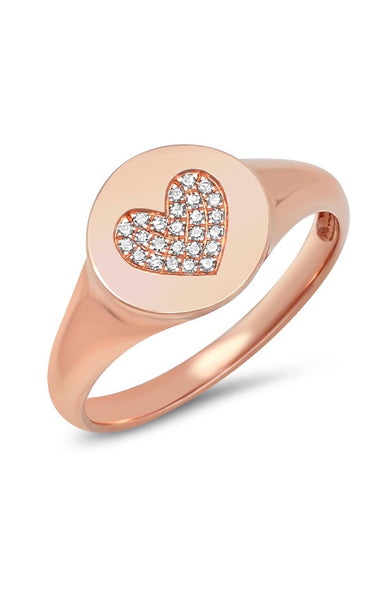 Shain Leyton 14K Rose Gold Diamond Heart Signet Pink Ring