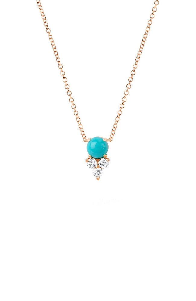 EF Collection Rose Gold Turquoise and Diamond Trio Necklace at Ron Herman