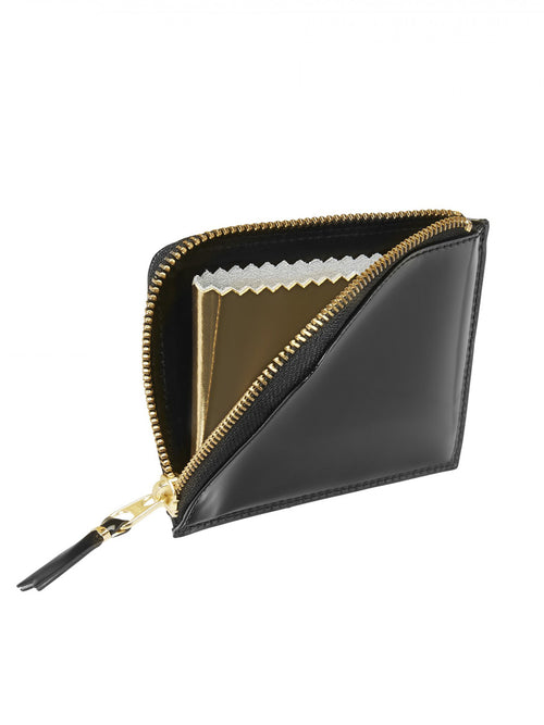 Mirror Inside Half Zip Glossy Leather Wallet