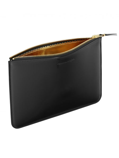 Mirror Inside Glossy Leather Zip Pouch