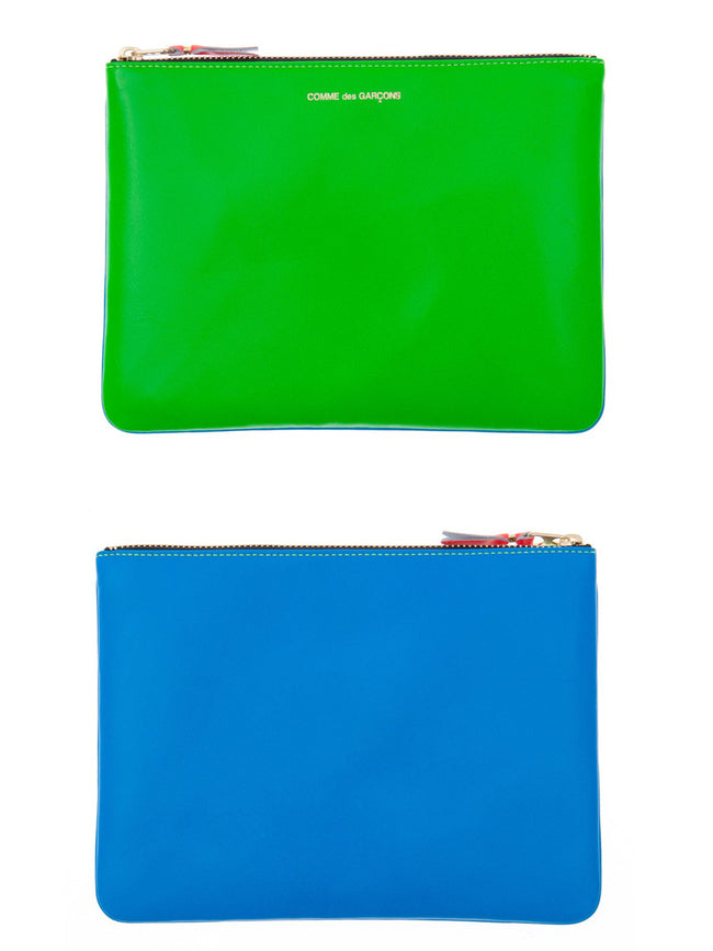 Super Fluorescent Leather Zip Pouch