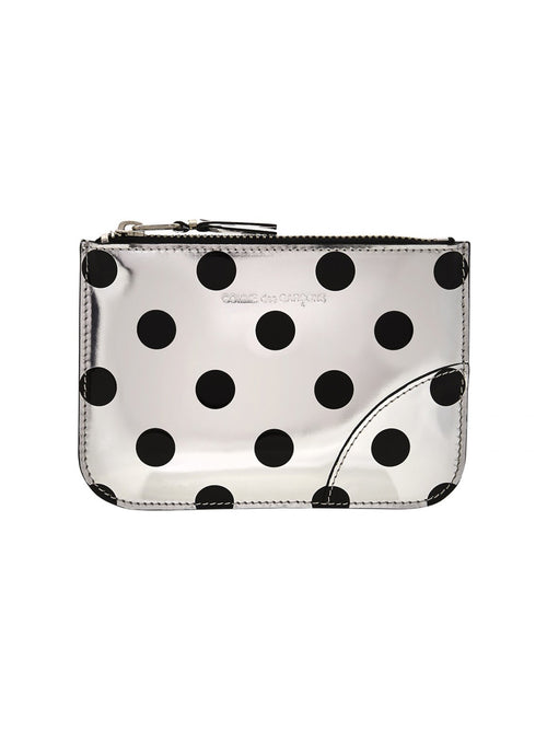 Optical Dot Small Leather Zip Pouch